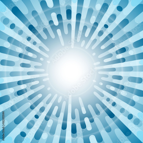 Fotobehang Pop Art Blue pop art retro background with circle lights. Exploding rays comic style. Vector illustration.