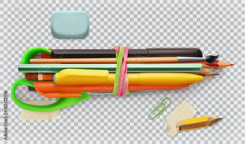 School supplies. Pen, pencil, brush, scissors. 3d vector icon set - 162612016