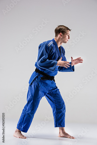 The one judokas fighter posing on gray Poster