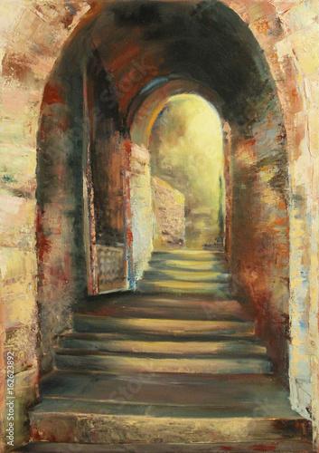 kamienne-schody-w-luku-przez-starozytna-sciane-oryginalny-obraz-olejny-na-plotnie-w-stylu-impresjonistycznym