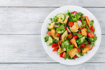 Fattoush or Arab salad with pita croutons
