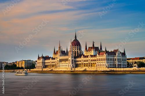 Hungary parliament building at sunset