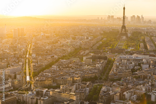 Paris and Eiffel tower aerial view at sunset