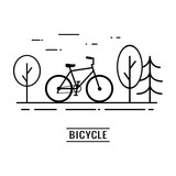 Line art bicycle design on the road in the park with big city view. Good for card,  banner, presentation, flyer, etc. Modern vector logo