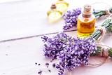Spa background with lavender and essential oil - 162638221