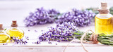 Fototapeta Lawenda - Panorama banner of lavender and essential oil © exclusive-design