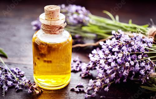Corked bottle of lavender essential oil