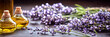 Leinwanddruck Bild - Panoramic banner of lavender with essential oil