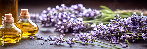 Panoramic banner of lavender with essential oil - 162638874