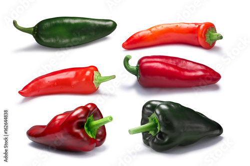 Chile peppers, red and green, paths