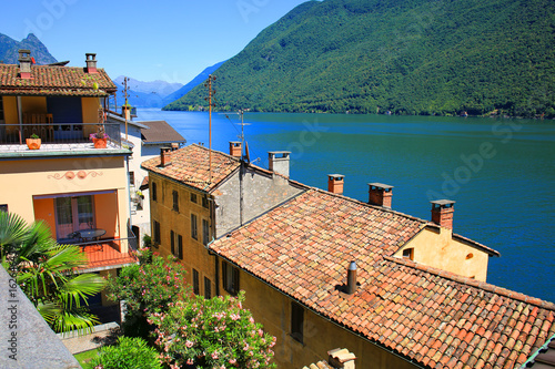 Scenic village on the shore of the Lake of Lugano in Italy