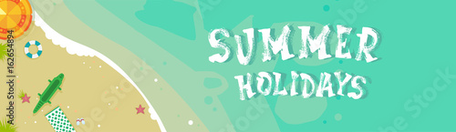 Foto op Aluminium Groene koraal Summer Beach Vacation Seaside Sand Tropical Holiday Banner Flat Vector Illustration