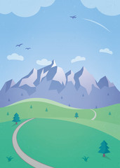 Summer Landscape with Mountains - a simple illustration with rolling hills, a mountain range, soaring birds and a plane flying in the clear blue sky. © ToivoMedia