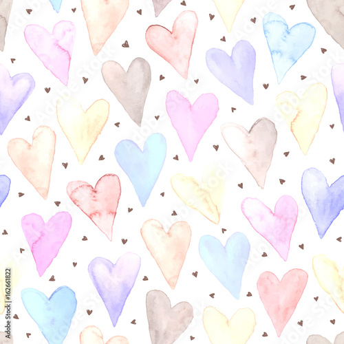 Tapeta Watercolor hearts seamless background. Sweet tiled pattern from heart shapes isolated on white. Romantic texture in pastel colors hand drawn with paints.
