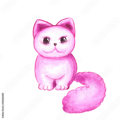 Poster Pony Pink watercolor cat