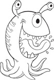 Silly Halloween Monster Alien Vector Illustration Art