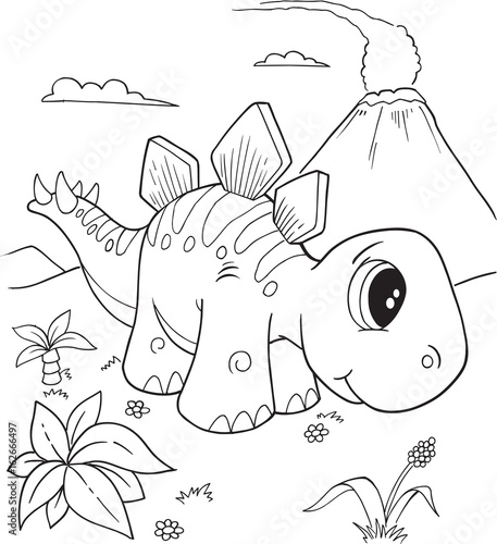 Aluminium Cartoon draw Cute Stegosaurus Dinosaur Vector Illustration Art