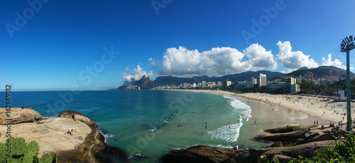 Panoramic view of the famous Ipanema beach in Rio de Janeiro Brazil