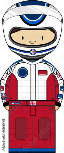 Fotobehang F1 Cartoon Motor Racing Car Driver