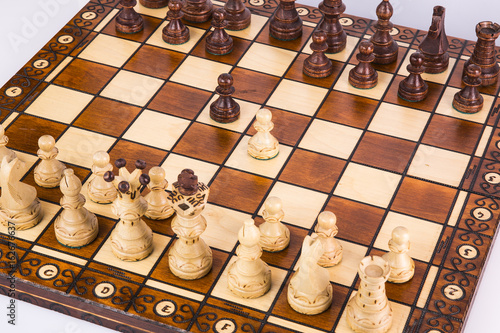 Poster Chess pieces on a chessboard