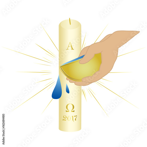 Sacrament Of Baptism Symbols Paschal Candle And Holy Water Buy