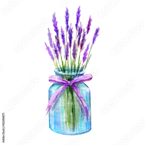 Glass jar with lavender bouquet. Vintage hand drawn sketch design. Provence style, Watercolor hand painting Jar illustration isolated white background © ulabagi