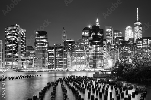 Manhattan skyline seen from Brooklyn at night, New York City, USA.