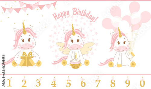 Cute Baby Unicorn Vector Illustration Happy Birthday Card With