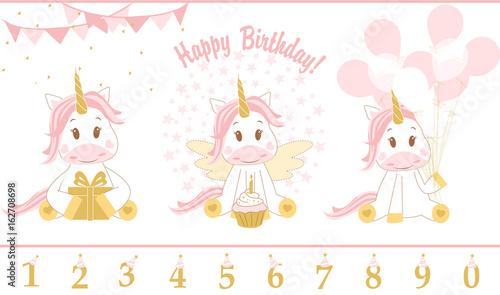 Cute baby unicorn. Vector illustration. Happy Birthday card with cute unicorn icon