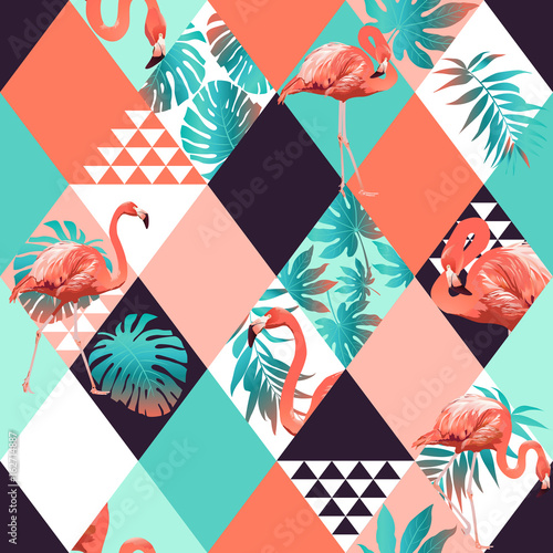 Fototapeta  Exotic beach trendy seamless pattern, patchwork illustrated floral vector tropical banana leaves. Jungle pink flamingos Wallpaper print background mosaic