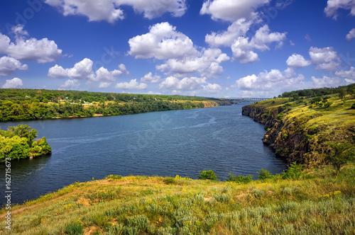 Foto op Canvas Pistache Summer landscape with river