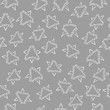 Materiał do szycia White snowflakes on a gray background. Seamless modern pattern with the inscription: winter. For fashion, textile, cloth, background. Season sign collection.