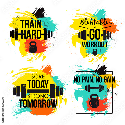 Gym and fitness motivation quote set Poster