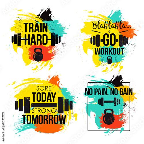 Plakát Gym and fitness motivation quote set