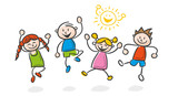 Strichfiguren Kinder bunt lachen - 162732821
