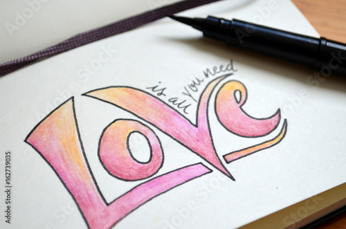 ALL YOU NEED IS LOVE hand lettering in notebook Poster