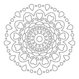Mandala Ornament. Round Element For Coloring Book or Decoration. Black Lines on White Background.