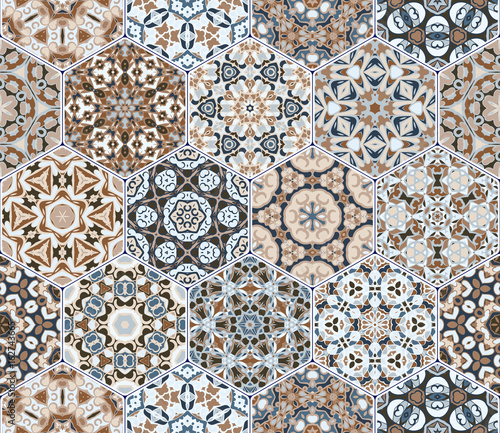 Vector set of hexagonal patterns. - 162743665