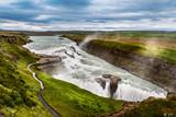 Fototapety beautiful waterfall Gullfoss, famous landmark in Iceland