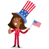 Vector illustration of happy patriotic cartoon African American business woman wearing stars and stripes hat celebrating Independence Day giving thumbs up - 162749805