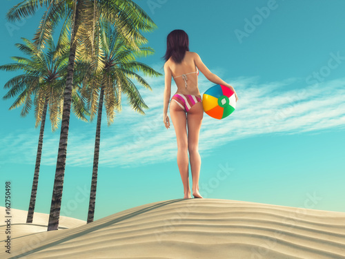 Foto op Canvas Turkoois Girl with a beach ball
