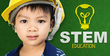 Asian boy with Engineer hat and STEM education logo - 162753093