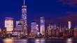 Time Lapse New York City Manhattan Skyline at Night seen from Jersey City