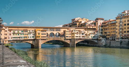 The east side of Ponte Vecchio (old bridge) in Florence Italy