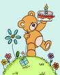 Teddy bear holding birthday cake and gift at forest