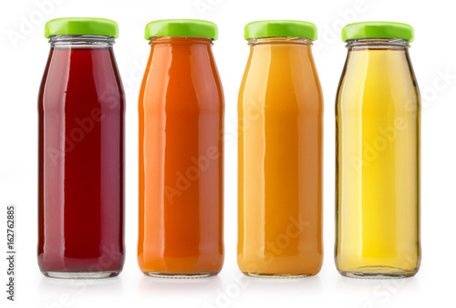 Deurstickers Sap orange juice bottles isolated