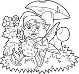 Cartoon funny elf about to eat a berry