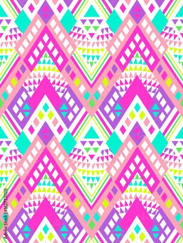 Neon bright aztec geo print - seamless background
