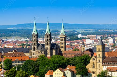 Stadtpanorama Panorama von Bamberg bei blauen Himmel