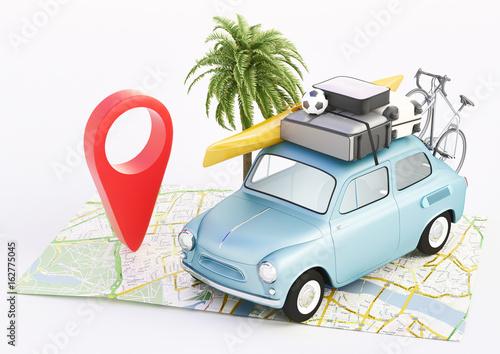 Vacanze, carta geografica con automobile in viaggio, render 3d